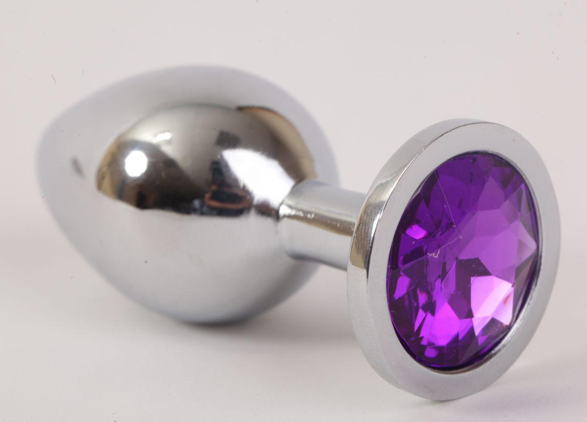 Серебристая анальная пробка с фиолетовым стразом - 8,2 см. - фото 194622