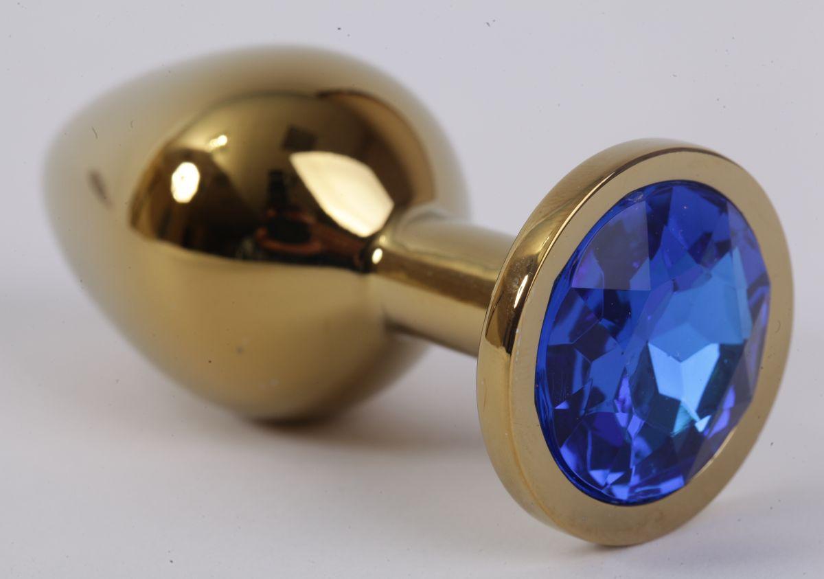 Золотистая анальная пробка с синим кристаллом - 8,2 см. - фото 194645