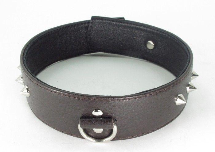 Коричневый кожаный ошейник с кольцом увеличенного размера