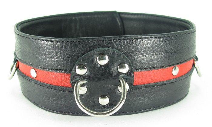 Черно-красный кожаный ошейник увеличенного размера с кольцом - фото 148727