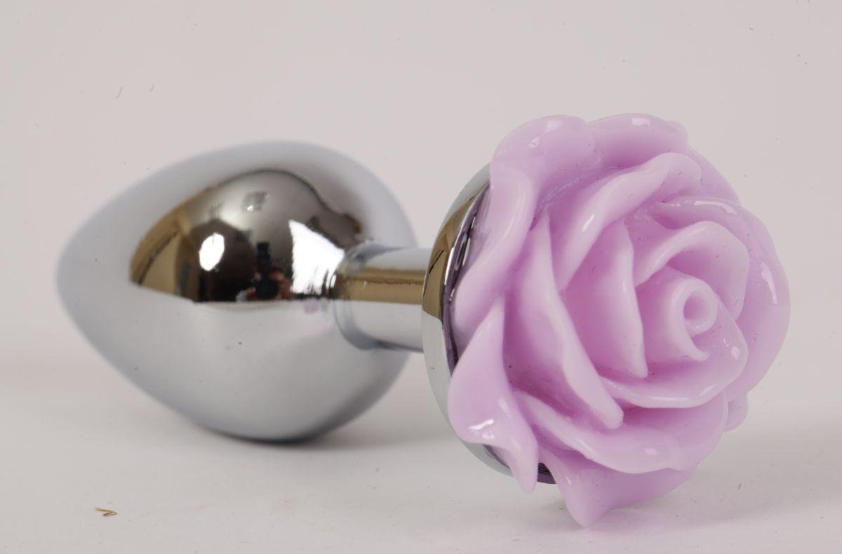 Серебристая анальная пробка с сиреневой розой - 7,6 см. - фото 194847