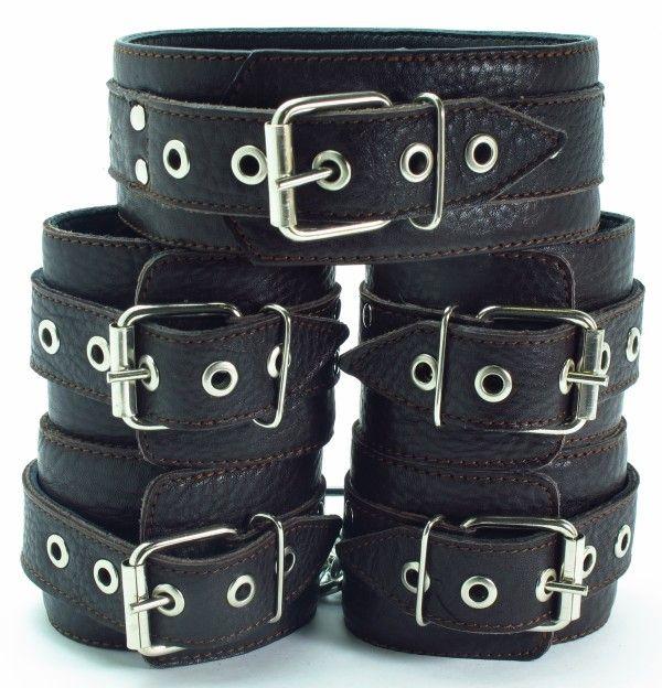 Набор коричневых фиксаторов: наручники с мехом, наножники и ошейник  - фото 1663060