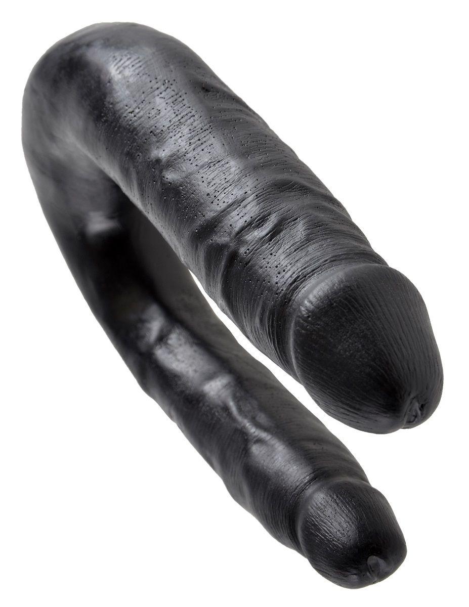 Чёрный двусторонний фаллоимитатор U-Shaped Small Double Trouble - 33,5 см. - фото 240806