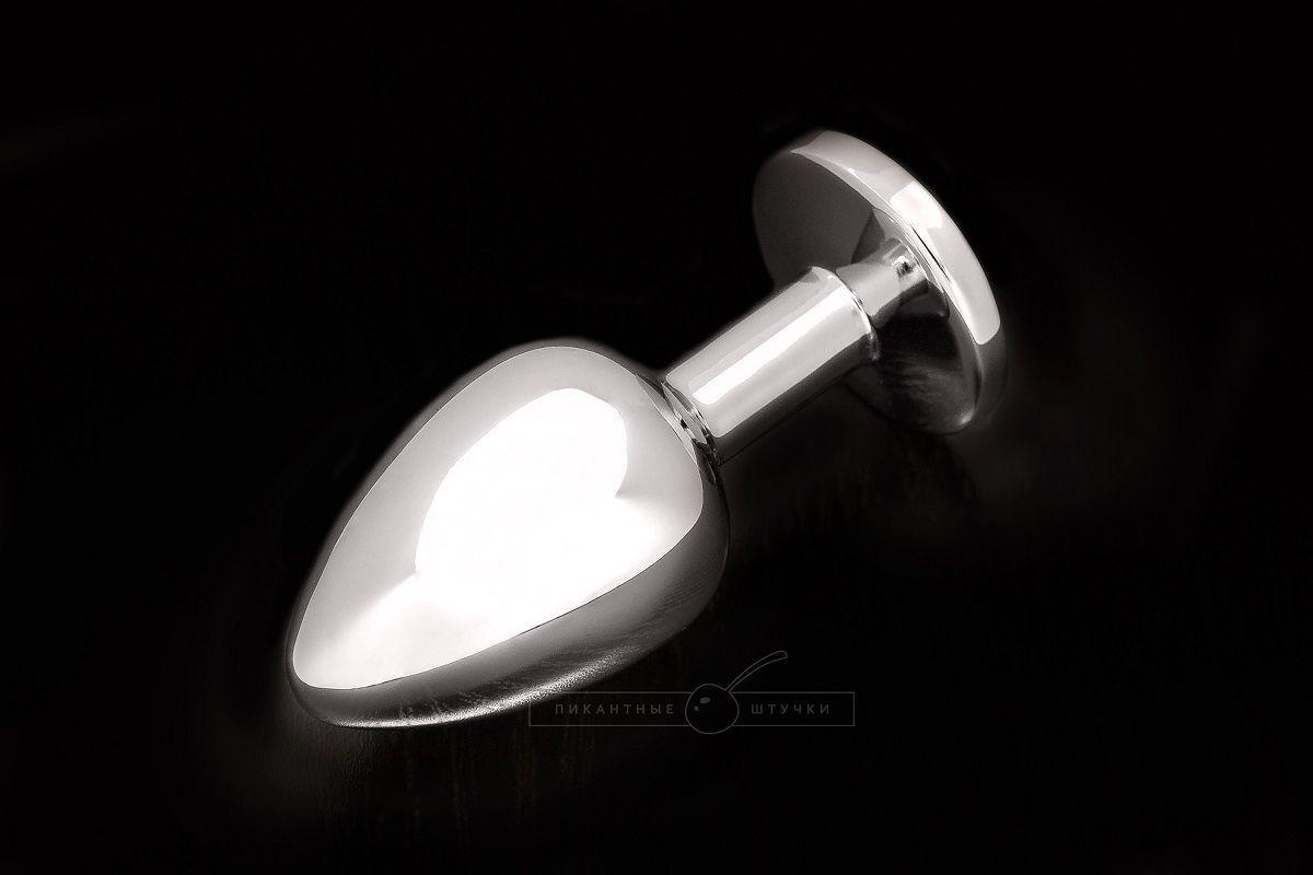 Маленькая серебристая анальная пробка с круглым кончиком и прозрачным кристаллом - 7 см. - фото 149859