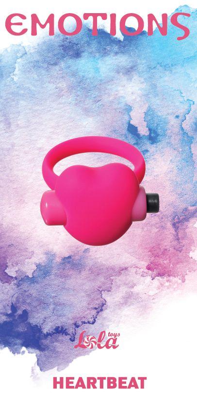 Розовое эрекционное виброколечко Emotions Heartbeat - фото 1664020