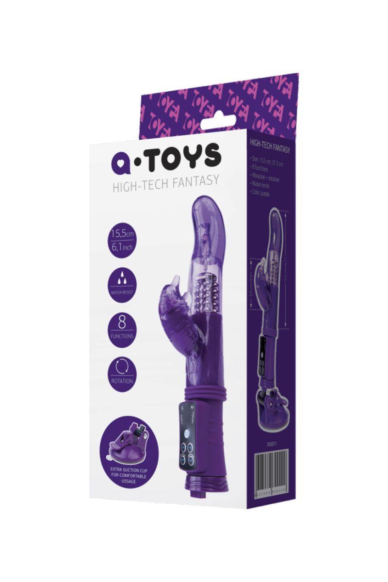 Фиолетовый вибратор с клиторальным стимулятором и супер надёжной присоской