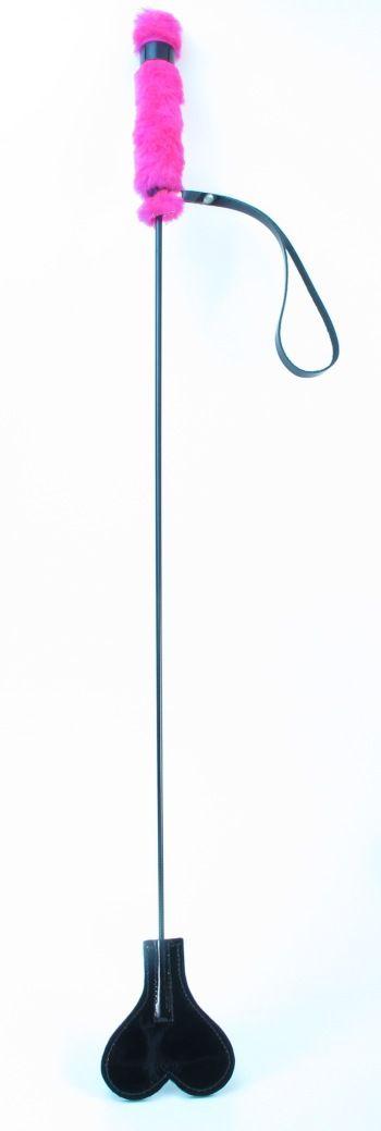 Лаковый стек с розовой меховой ручкой - 64 см.