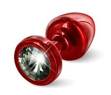 Красная анальная пробка с чёрным кристаллом ANNI round Red T1 Black Diamond - 6 см. - фото 249389