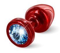 Красная пробка с голубым кристаллом ANNI round Red T1 Blue - 6 см. - фото 249390