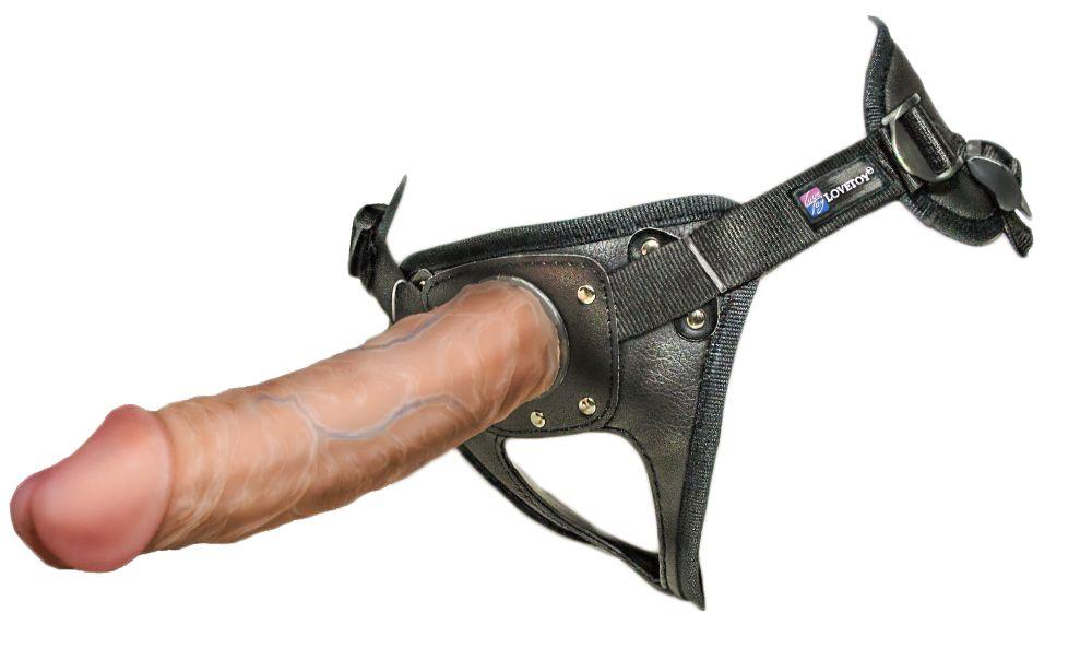 Насадка-фаллоимитатор на кожаных трусиках Harness Ultra Realistic 8  - 20 см. - фото 136476