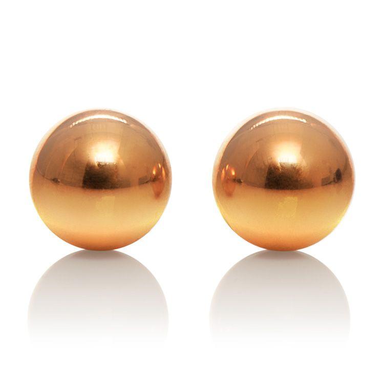 Золотистые вагинальные шарики Entice Weighted Kegel Balls - фото 137023