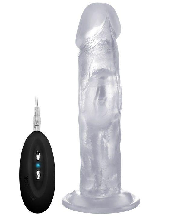 Прозрачный вибратор-реалистик Vibrating Realistic Cock 8  - 20 см.