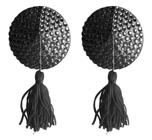 Чёрные круглые пестисы Nipple Tassels Round - фото 138120