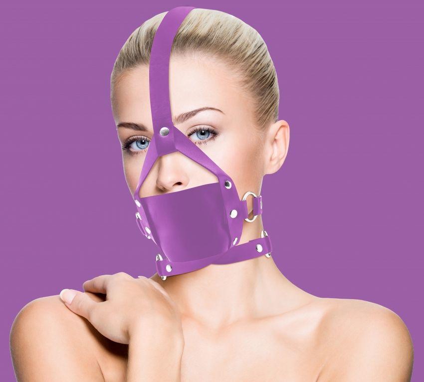 Фиолетовый кожаный кляп Leather Mouth Gag - фото 1164613