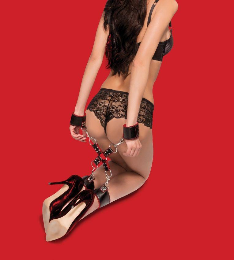 Чёрно-красный двусторонний комплект для бандажа Reversible Hogtie