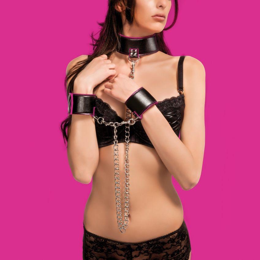 Чёрно-розовый двусторонний ошейник с наручниками Reversible Collar and Wrist Cuffs - фото 228507