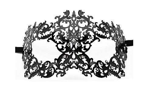 Чёрная металлическая маска Forrest Queen Masquerade - фото 138183