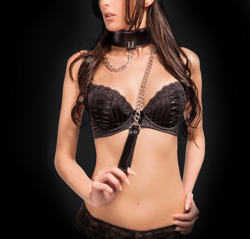 Чёрный двусторонний ошейник с поводком Reversible Collar with Leash