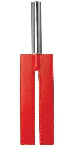 Красная П-образная шлёпалка Leather Slit Paddle - 35 см. - фото 1666710