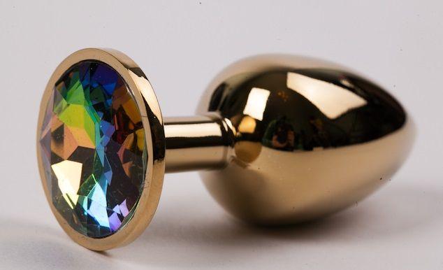 Золотистая металлическая анальная пробка с радужным стразом - 8,2 см. - фото 199363