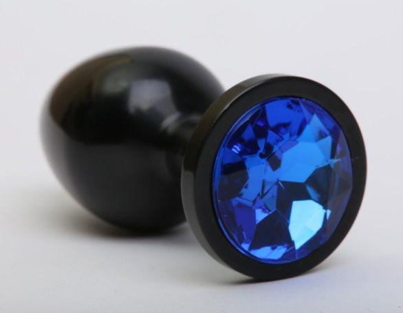 Чёрная анальная пробка с синим стразом - 8,2 см. - фото 199392