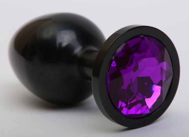 Чёрная анальная пробка с фиолетовым стразом - 8,2 см. - фото 138457