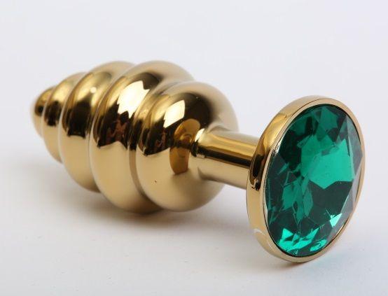 Золотистая ребристая анальная пробка с зеленым стразом - 7,3 см. - фото 199398