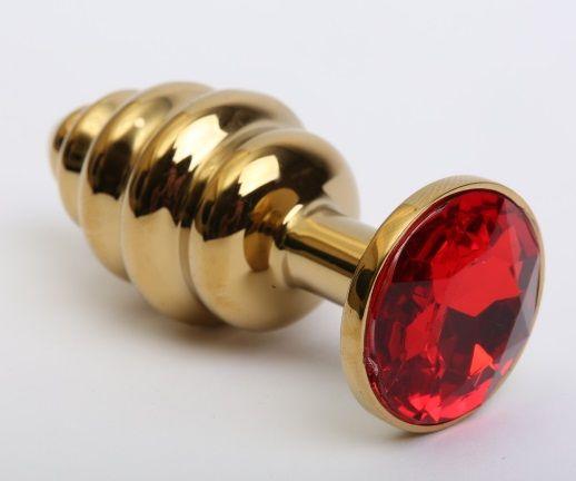 Золотистая ребристая анальная пробка с красным стразом - 7,3 см. - фото 199399