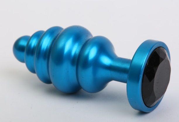 Синяя ребристая анальная пробка с чёрным кристаллом - 7,3 см. - фото 199409