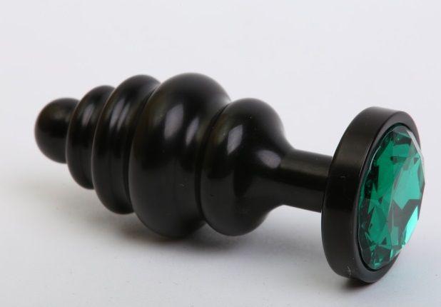 Чёрная ребристая анальная пробка с зеленым кристаллом - 7,3 см.