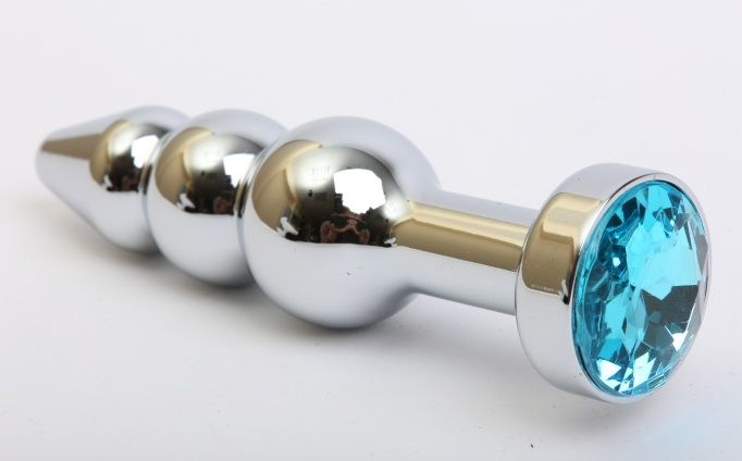 Серебристая анальная ёлочка с голубым кристаллом - 11,2 см. - фото 199442