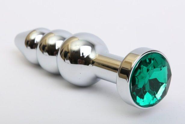 Серебристая анальная ёлочка с зеленым кристаллом - 11,2 см. - фото 199443