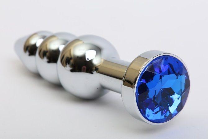 Серебристая анальная ёлочка с синим кристаллом - 11,2 см. - фото 199445