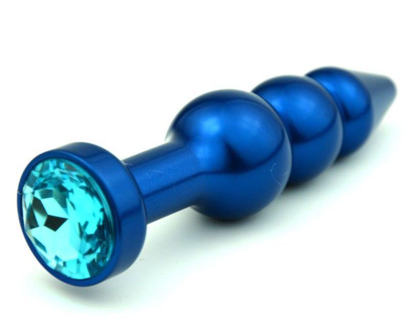Синяя фигурная анальная пробка с голубым кристаллом - 11,2 см. - фото 138509