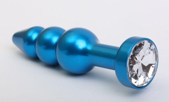 Синяя фигурная анальная пробка с прозрачным кристаллом - 11,2 см. - фото 199448