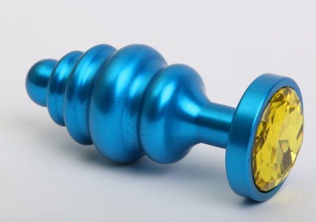 Синяя ребристая анальная пробка с жёлтым кристаллом - 7,3 см. - фото 199471