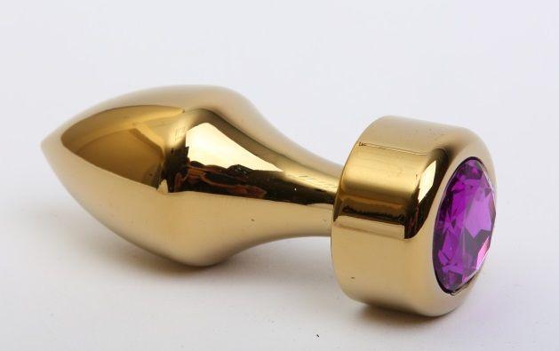 Золотистая анальная пробка с широким основанием и фиолетовым кристаллом - 7,8 см. - фото 138566