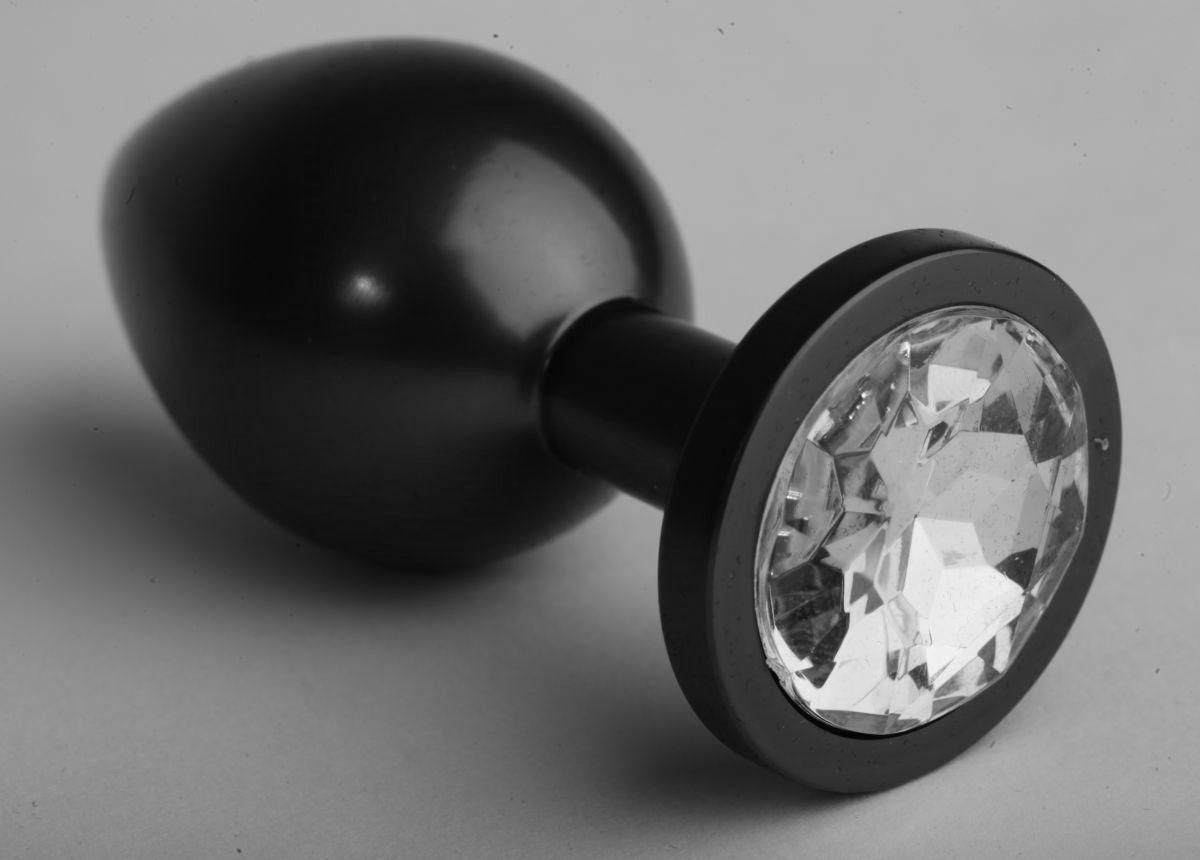 Чёрная анальная пробка с прозрачным стразом - 8,2 см. - фото 199531