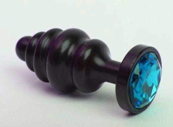 Чёрная ребристая анальная пробка с голубым кристаллом - 7,3 см. - фото 199538