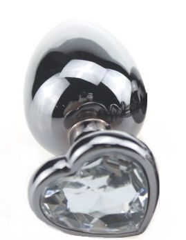 Малая серебристая пробка с прозрачным кристаллом-сердечком - 7,5 см. - фото 138600