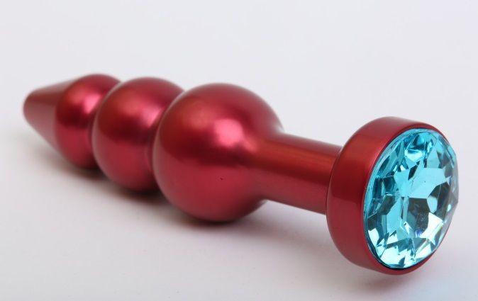 Красная анальная ёлочка с голубым кристаллом - 11,2 см. - фото 199550