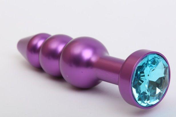 Фиолетовая фигурная анальная ёлочка с голубым кристаллом - 11,2 см. - фото 199562
