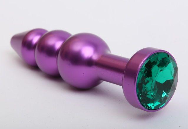 Фиолетовая фигурная анальная ёлочка с зелёным кристаллом - 11,2 см. - фото 199563