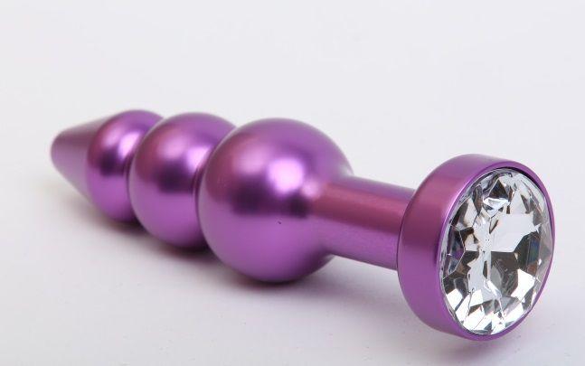 Фиолетовая фигурная анальная ёлочка с прозрачным кристаллом - 11,2 см. - фото 199565