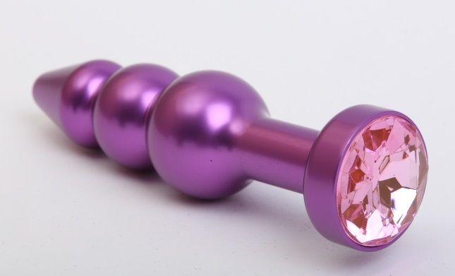 Фиолетовая фигурная анальная ёлочка с розовым кристаллом - 11,2 см.