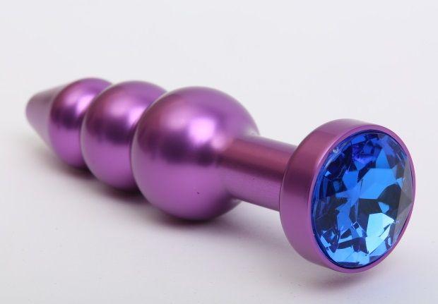 Фиолетовая фигурная анальная ёлочка с синим кристаллом - 11,2 см. - фото 199567