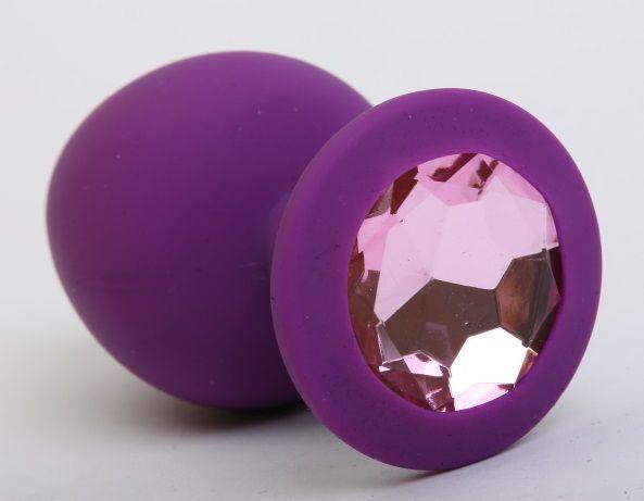 Фиолетовая силиконовая пробка с розовым стразом - 8,2 см. - фото 199595