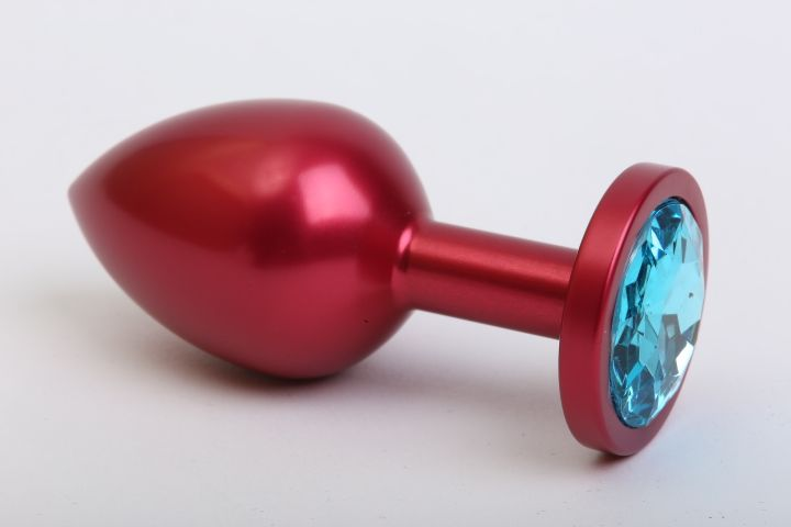 Красная анальная пробка с голубым стразом - 7,6 см. - фото 199791