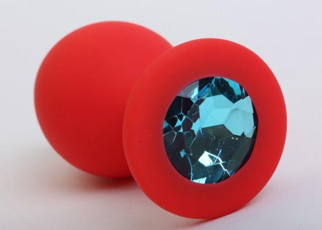 Красная силиконовая пробка с голубым стразом - 8,2 см. - фото 199812