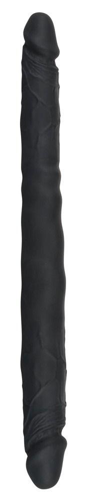 Чёрный двусторонний фаллоимитатор Double Dong Black - 40 см. - фото 199862